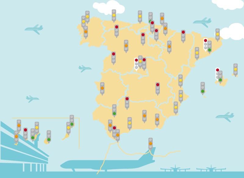 Infografía: El semáforo de la rentabilidad en los aeropuertos de Aena